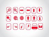 web site and Internet  red icon set