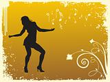 yellow disco background with dancing couple, illustration