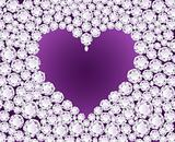 Vector purple heart on diamond background