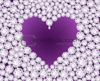 Vector purple heart on diamond background
