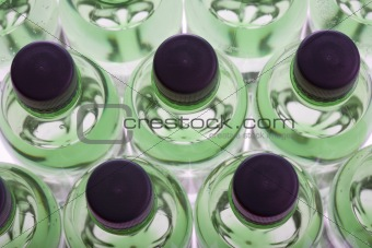 Green water bottles
