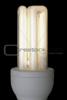 Energy Saving Lightbulb, lit against black