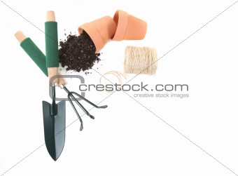 Top View of Springtime Gardening Tools