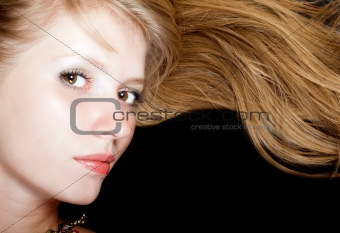 Portrait of the young beauty blonde. Isolated
