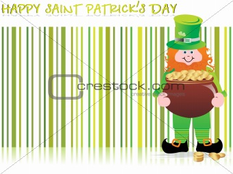 a leprechaun protecting his pot of gold, vector