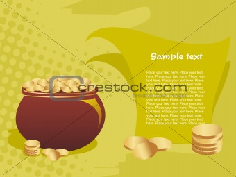 green background with pot of golden coins