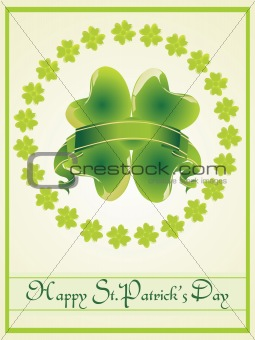 green frame of four leafs clover with ribbon