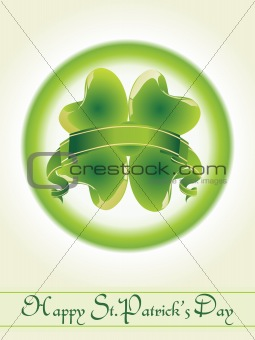 green icon of four leafs clover with ribbon