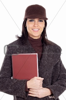 Attractive lady student with book