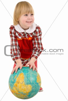 Little girl and terrestrial globe