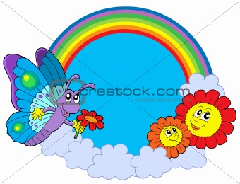 Rainbow circle with butterfly and flowers