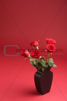 Five red roses in the vase on the red background
