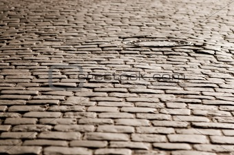 Old cobblestone road