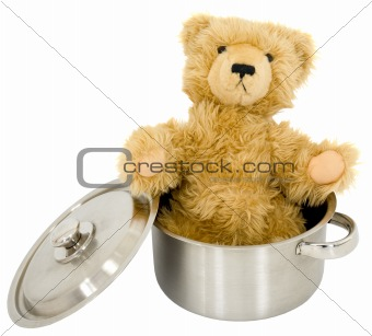 Toy brown bear in saucepan
