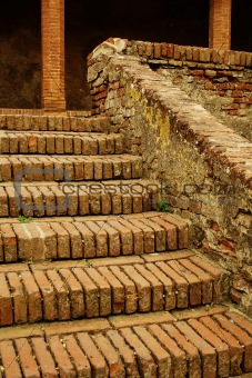 Old brick stairs and columns