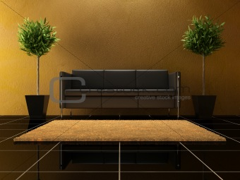 Interior design - black Sofa