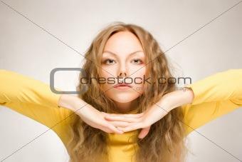 blond hair young woman portrait, studio shot