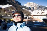 Happy Woman In Small Italian Alps Village