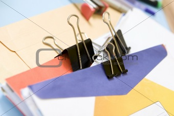 Clipped mail in office