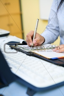 Writing in office