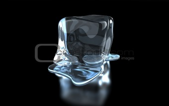 an ice cube on a glass surface