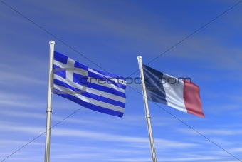 greece and Franc flag in the wind