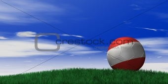 Austria soccer ball on grassand sky background