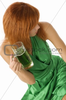 green dress and beer