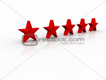 Five shining stars isolated on a white background