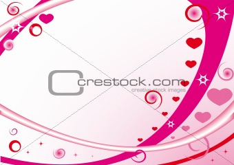 Pink frame with hearts, stars, circles