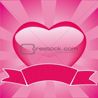 Frame with heart and ribbon