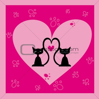 greeting card with two black cats