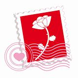Postage stamp with rose