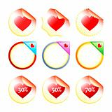 Heart stickers or labels