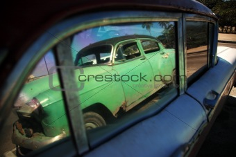 Cuban car reflection