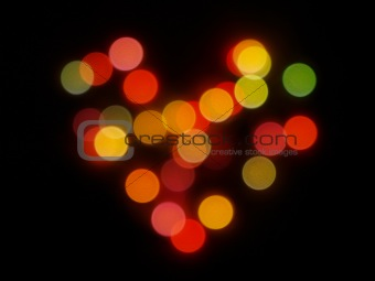 Abstract Bokeh Heart Shape Background