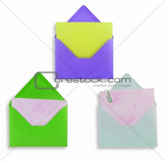 Assorted open envelopes isolated, path provided.