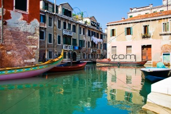 Calm water of a venetian canal