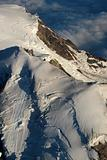 A fly over view of the top of Mount Rainier.