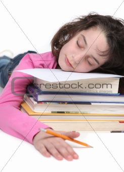 Tired School Girl Doing Her Homework