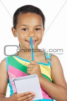 adorable girl writing
