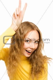 Portrait of an successful and attractive woman victory sign