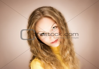 blond hair young woman portrait, studio shot