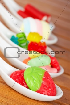 Candies in the spoons