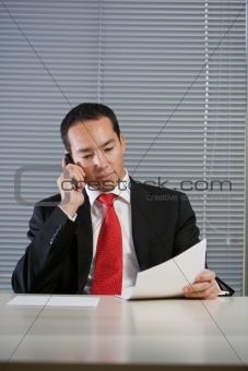 Business man with mobile hand cell phone