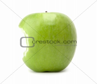 Green bitten apple