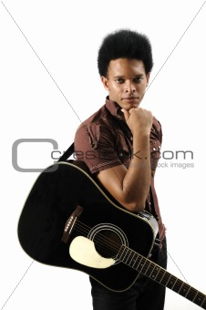 Trendy man with guitar