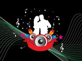 couple of youth dancing on musical night background, wallpaper