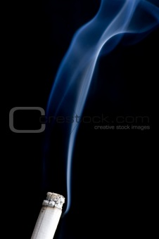 cigarette with smoke close up
