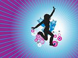 disco background with dancing female, banner